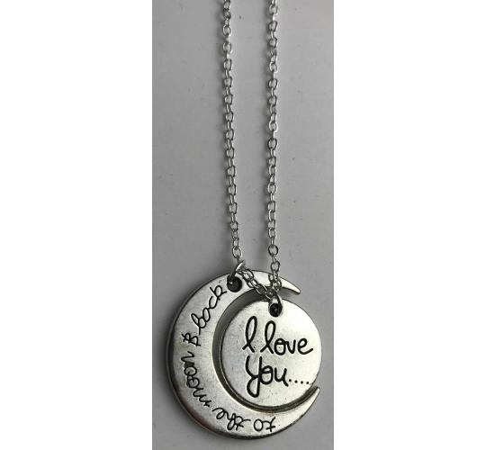 One Off Joblot of 16 Love You To The Moon And Back Silver Necklaces