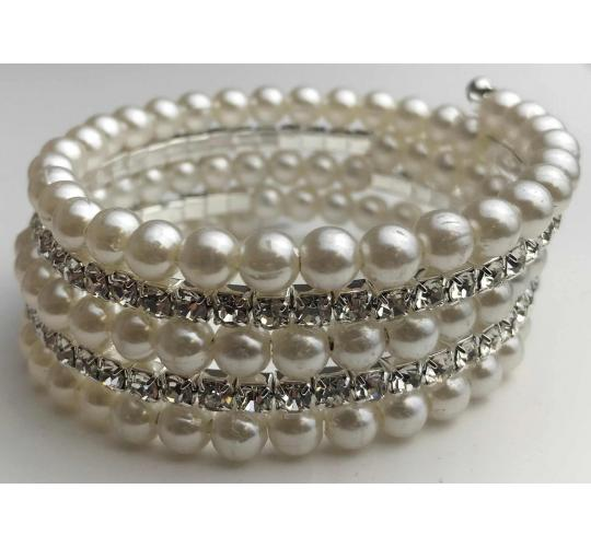 One Off Joblot of 10 Ladies Pearlescent And Diamante Coil Bracelets