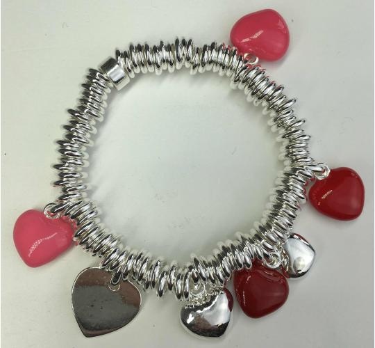 Wholesale Joblot of 10 Ladies Silver, Pink And Red Heart Charm Bracelets