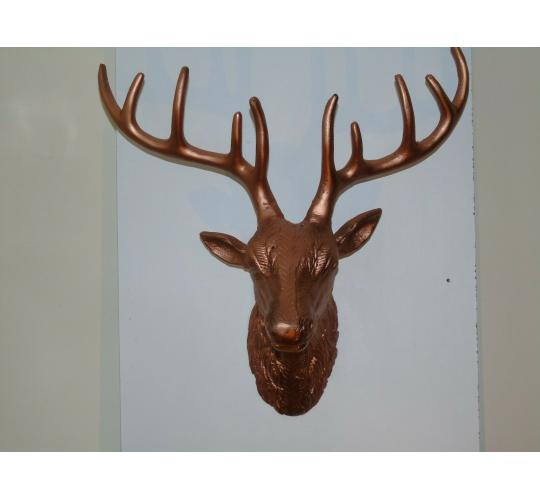 BRAND NEW REALISTIC QUALITY DETAILED STAG HEAD - COPPER/ANTIQUE BRONZE COLOUR 10 UNITS