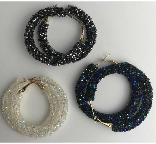Wholesale Joblot of 10 Hoop Crystal Earrings  Black/Silver, Black/Blue & Clear
