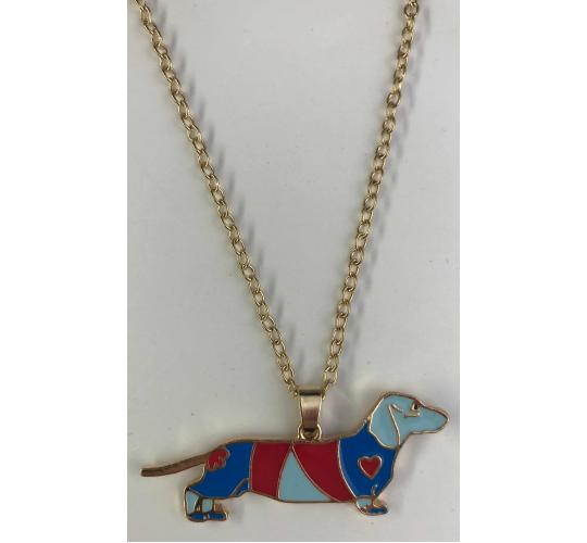 One Off Joblot of 12 Dachshund Dog Gold Necklaces