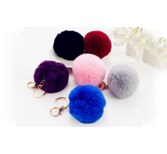 HANDBAG CHARM KEY RING FURRY AND SOFT