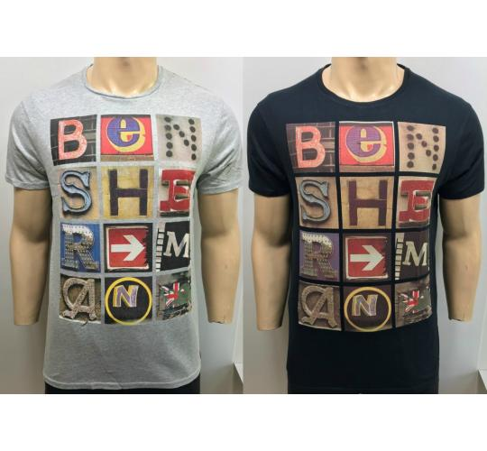 One Off Joblot of 13 Ben Sherman Mens Colourful Print T-Shirts Black & Grey