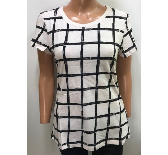 One Off Joblot of 7 Ladies De-Branded White/Black Square Pattern T-Shirt S-M