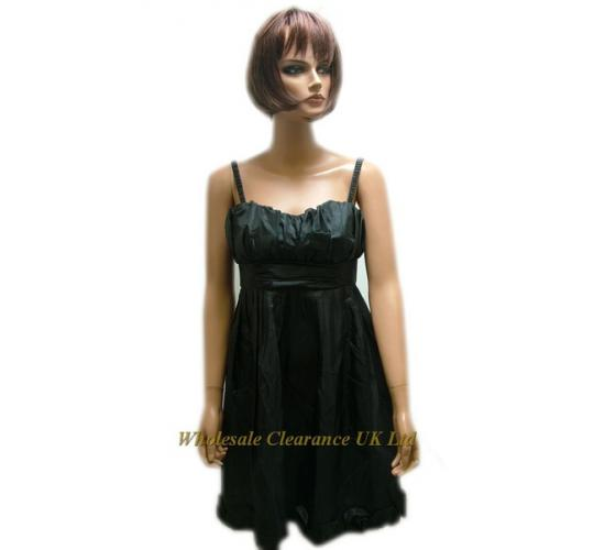 One Off Joblot of 5 Ladies Black Miso Pleated Double-Layer Dresses Sizes 8-12