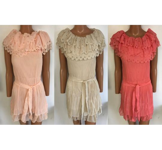 One Off Joblot of 10 Ladies Pleated Layered Dresses 3 Colours One Size