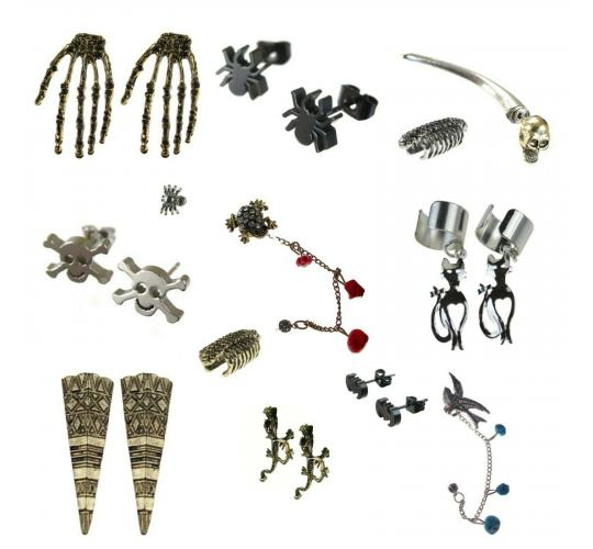 Joblot Of 100 Halloween Gothic, Emo Ear Cuffs & Earrings (60 Singles, 40 Pairs)