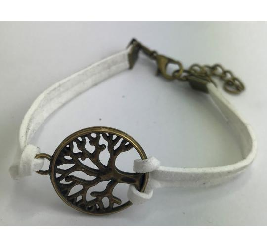 Wholesale Joblot of 10 Unisex Tree Charm White Bracelets