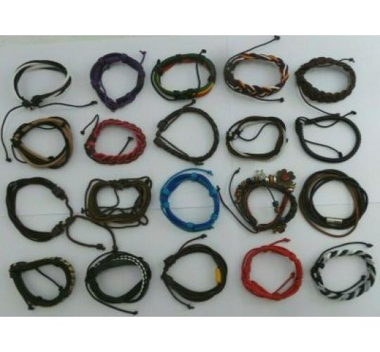 Wholesale Lot of 200 Leather And Some Faux Leather Bracelets, Mens & Womens