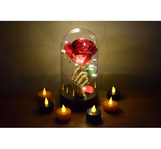 *Love and Death* 10 x Skeleton Hand with Enchanted Lighted Red Rose