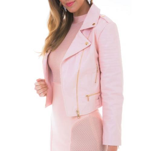 15 High Quality Faux Leather Blush Pink Women's Biker Jackets