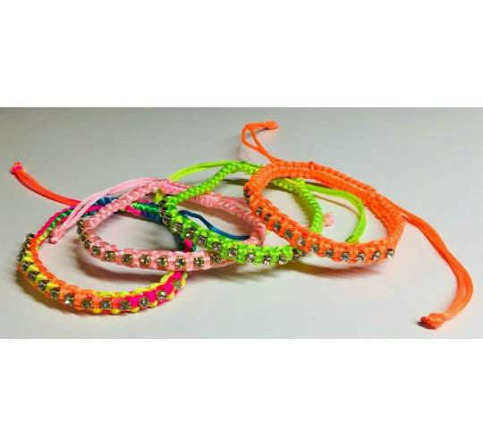 Wholesale Joblot Of 50 Neon Cord And Diamante Bracelets In 5 Colour Variations