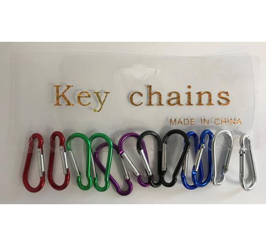 Wholesale Joblot of 30 Pack of 12 Multi Use Multi Colour Carabiner Key Clips