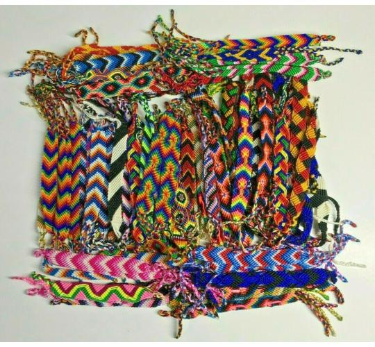 Wholesale Joblot Of 100 Handmade Macrame Wide Woven Friendship Bracelet Wraps