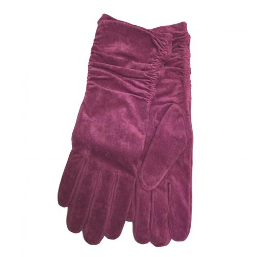 REAL PIGSKIN SUEDE LEATHER Hot Pink Ruched Long line Lined Gloves 7 Perfects