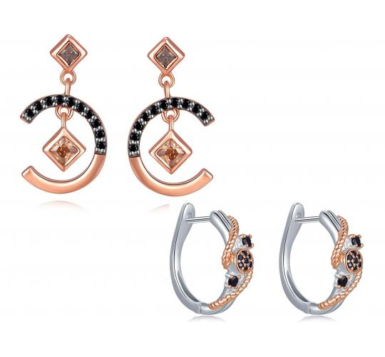 One Off Joblot Of 6 925 Sterling Silver Rose Gold & Cubic Zirconia Earrings
