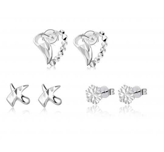 One Off Joblot Of 5 MBLife 14k 585 White Gold Stud Earrings 3 Designs