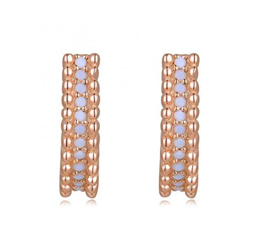 One Off Of 6 MBLife 925 Sterling Silver White Gemstones Rose Gold Hoop Earrings