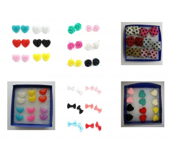 Wholesale Joblot Of 20 Multi-packs Of Six Pairs Of Cute Quirky Earrings