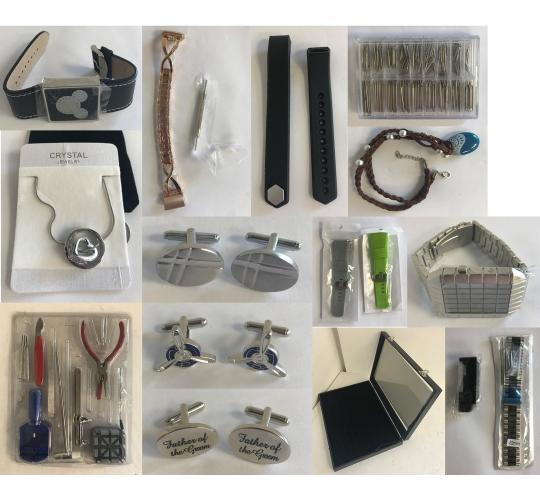 Joblot of 72 Watch & Jewellery Stock - Repair Tools, Cufflinks, Necklaces Etc