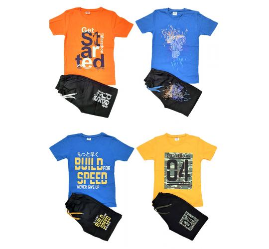 Job Lots of 64x High Quality Boys T-Shirt/Short 2 Pcs Set / 4 Designs / 4 Colours