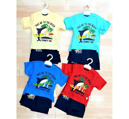 Job Lots of 32x High Quality Boys T-Shirt/Short 2 Pcs Set / 2 Designs / 4 Colours