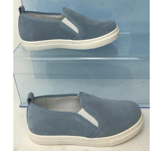 Wholesale Joblot of 4 IL Gufo Kids Slip-On Suede Leather Shoes Light Blue