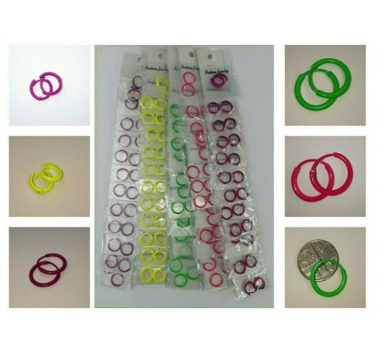 Joblot of 60 Pairs Of Small Hoop Earrings Purple & Neon Yellow, Pink & Green