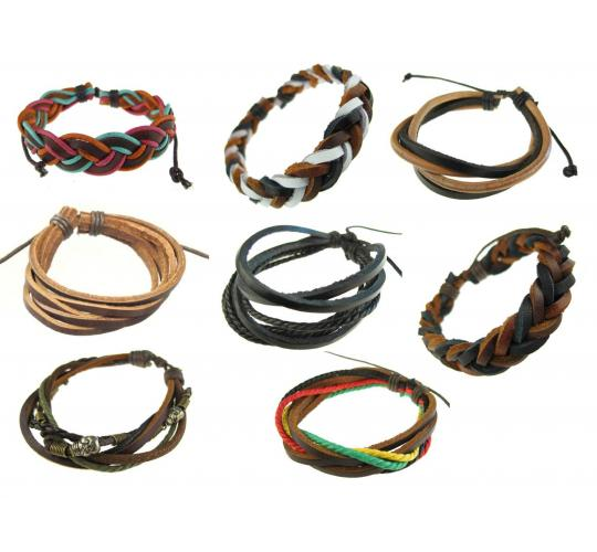 Wholesale Lot of 100 Leather And Some Faux Leather Bracelets, Mens & Womens