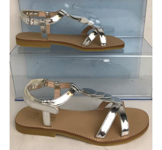 One Off Joblot of 3 IL Gufo Ladies Silver Disc Strap Leather Sandals Sizes 3-5
