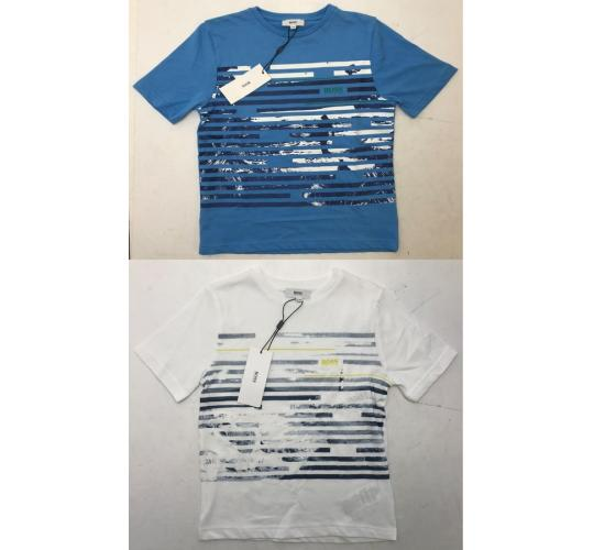 One Off Joblot of 9 Hugo Boss Boys Print T-Shirts White & Blue Range of Sizes