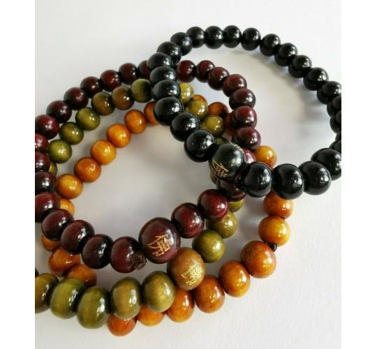 Wholesale Joblot Of 50 Chinese Wooden Bead Bracelets In 4 Colours Unisex