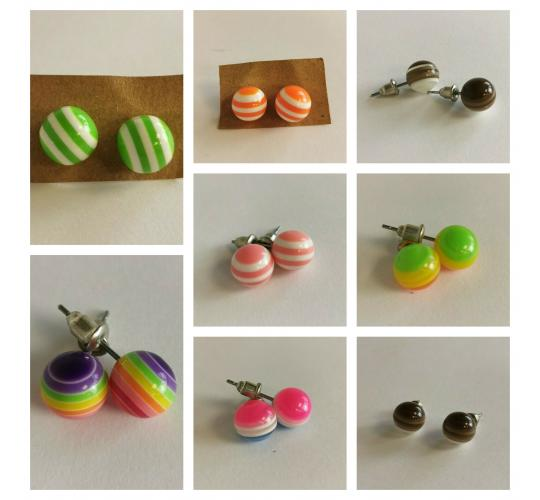 Wholesale Joblot Of 30 Pairs Of Retro Lollipop Striped Earrings