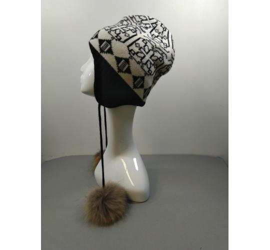 Sommerville 100% Cashmere  Job Lot Of 40 Black/White Patterned Eskimo Hats With Fur Pom Poms  One Size BNWT