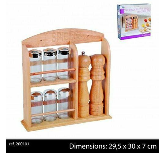 One Off 18PCS Vintage Wooden Spice Rack Wall Mounted Or Free Standing Organiser Shelf Storage