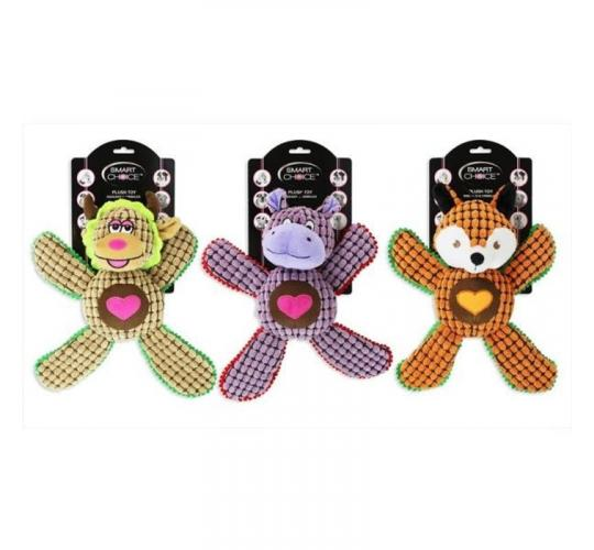 12 x Dog Plush Toy - Choice of Three Styles - Crinkle and Squeak enabled