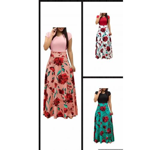 Long dress flower print 60 pcs with 3 colors and sizes