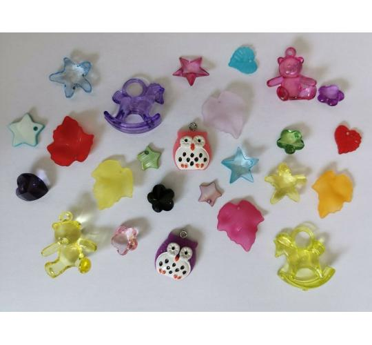 Wholesale Lot Of 100 Mixed Acrylic Charms For Jewellery Making Bracelets, Necklaces