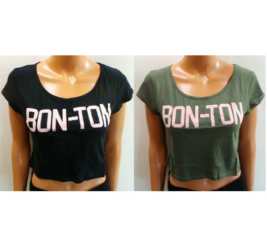 One Off Joblot of 20 Amy Gee Ladies Bon-Ton Crop Tops Green & Black XS-XL