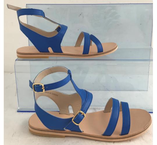 Wholesale Joblot of 3 Chloe Girls Blue Leather Strap Sandals Mixed Sizes