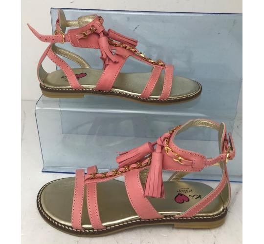 One Off Joblot of 4 Ki Pretty Girls Pink Tassel Leather Sandals Mixed Sizes