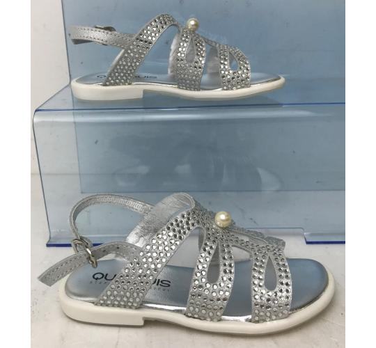 One Off Joblot of 4 Quis Quis Girls Silver Bead/Pearl Leather Sandals