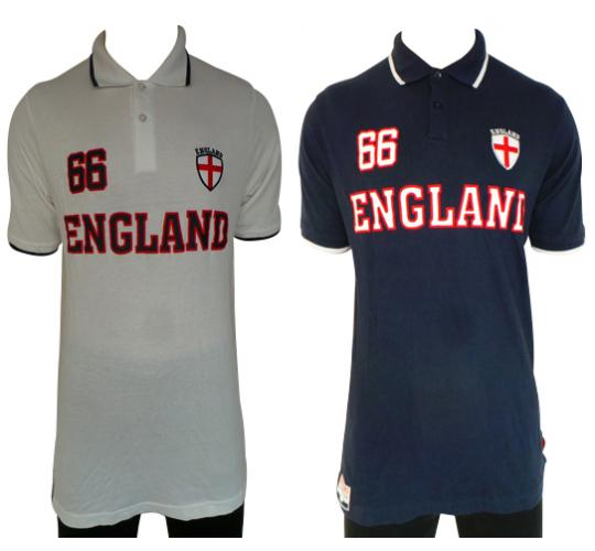 Wholesale Joblot of 10 Mens England 66 Polo Shirts White & Navy Sizes S-XXL