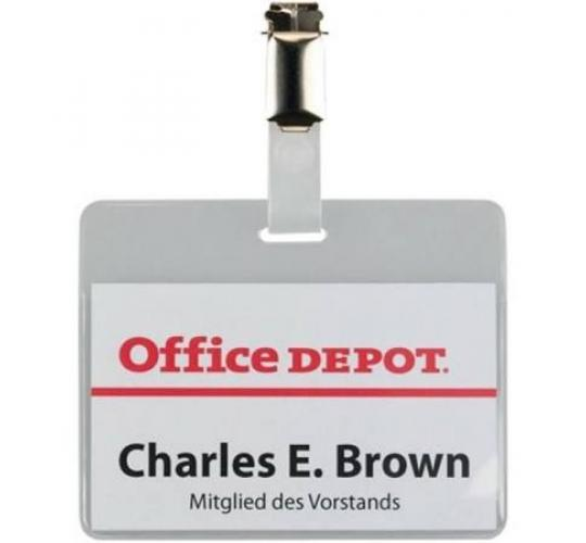 Office Depot Portrait Clip Badges 60mm x 90mm x 50 per Box - 1 Off lot of 4 boxes of 50 clips