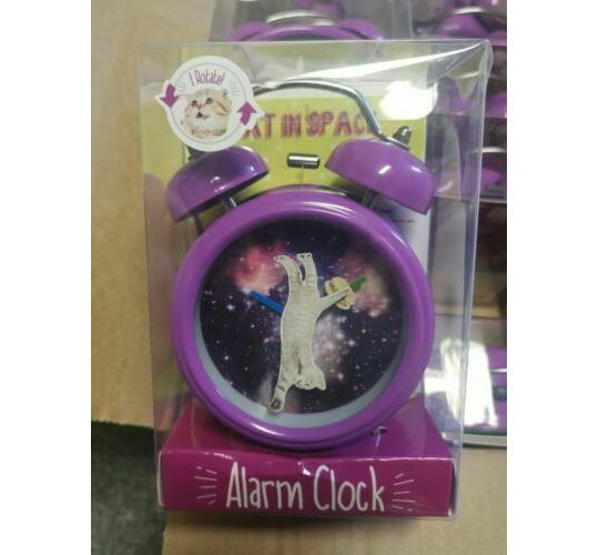 Cat in Space Alarm Clock - Novelty Cool Giftware - 12 Clocks per Lot