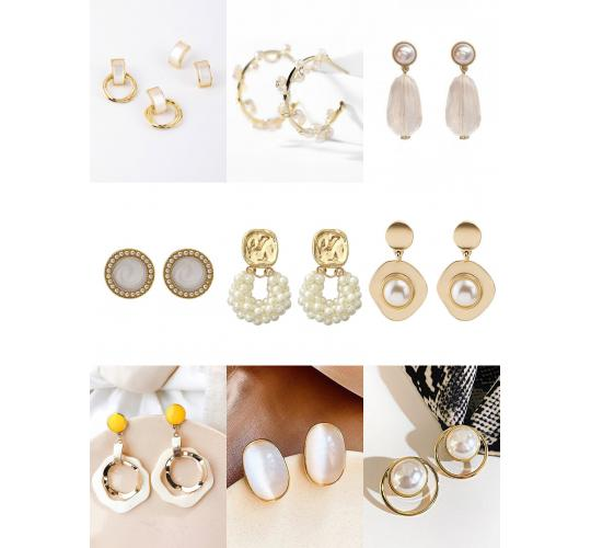 Stylish earring, gold plated earring, fashion jewellery, 10 styles per job lot