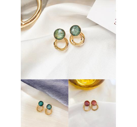 S925 pin gold plated retro earring stud, crystal earring stud, drawing effect earring, lady fashion jewellery, 3 colours 3 pairs of each colour per jo
