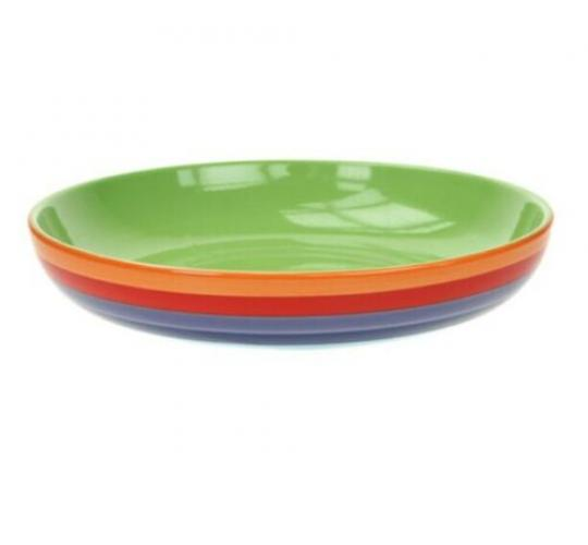 Ethically Sourced Fair Trade Hand Painted Rainbow Pattern Pasta Bowls - High Quality - 10 Pasta Bowls Per Lot