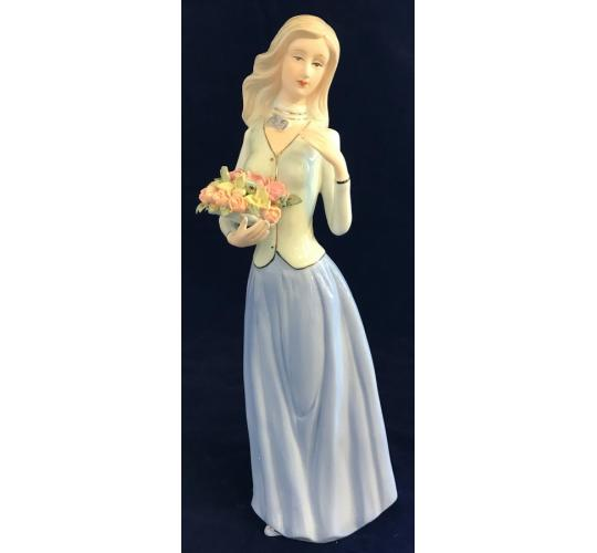 One Off Joblot of 12 Madame Posh Lady Holding Flowers Figurines